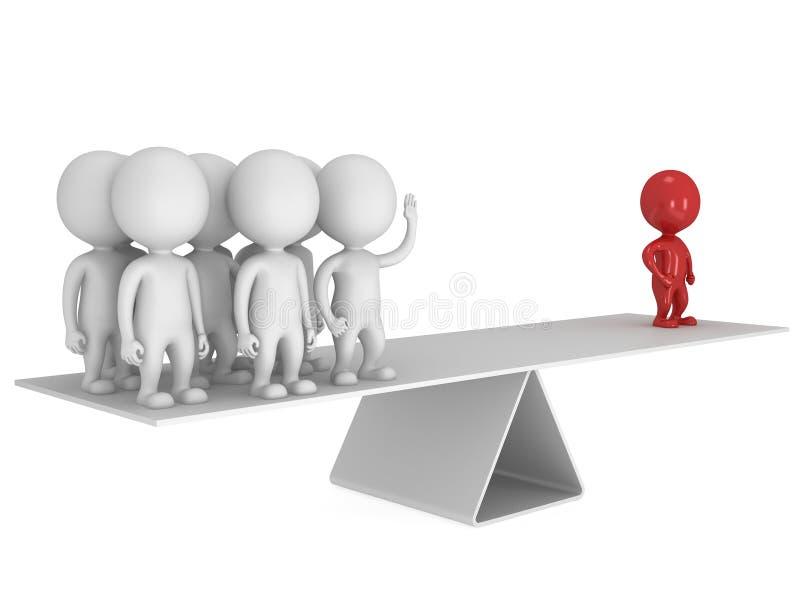 Equilibrio perfecto entre el líder y el equipo rojos ilustración del vector
