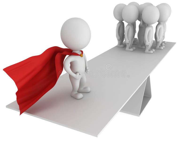 Equilibrio perfecto entre el super héroe y el equipo ilustración del vector