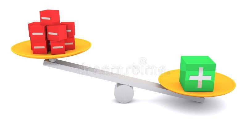 Equilibrio più e negativo illustrazione vettoriale