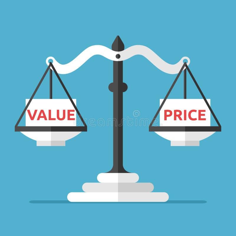 Equilibrio, valore e prezzo illustrazione di stock