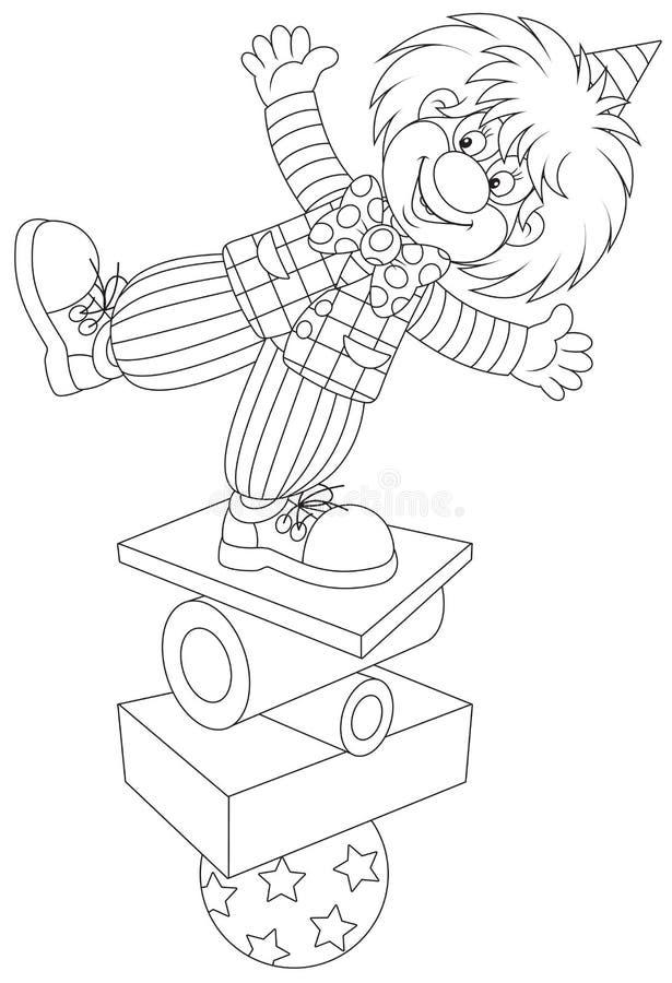 Equilibrist do palhaço ilustração royalty free