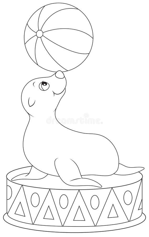 Equilibrist do selo do circo ilustração stock