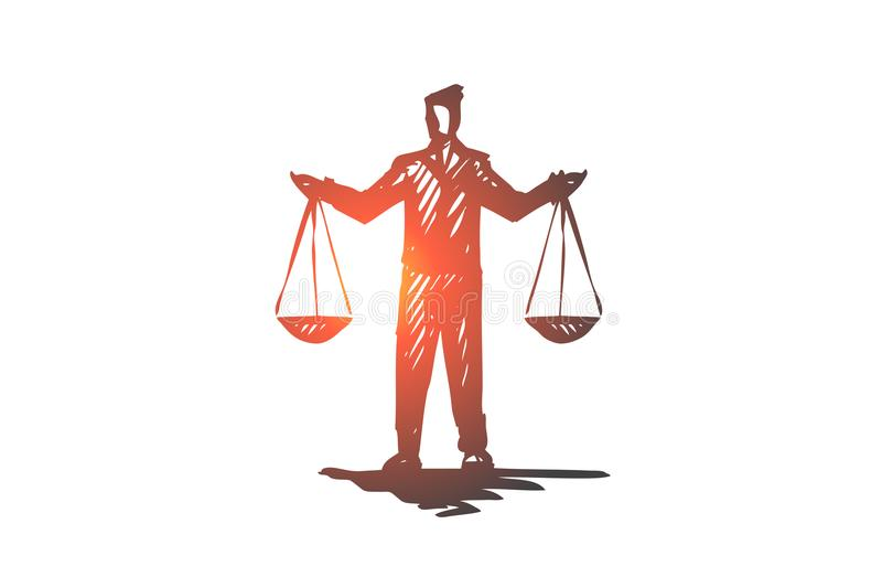 Equilibrium, balance, equality, scale, justice concept. Hand drawn isolated vector. Equilibrium, balance, equality, scale, justice concept. Hand drawn person vector illustration