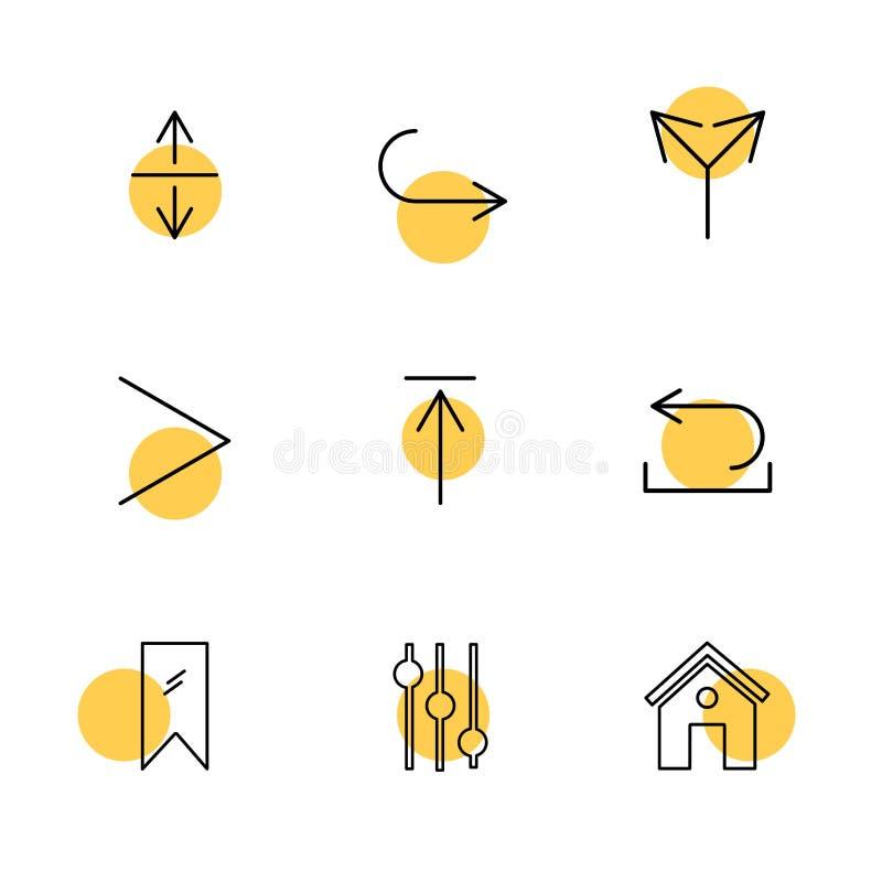 equilizer, dom, etykietka, strzała, kierunki, avatar, downloa royalty ilustracja