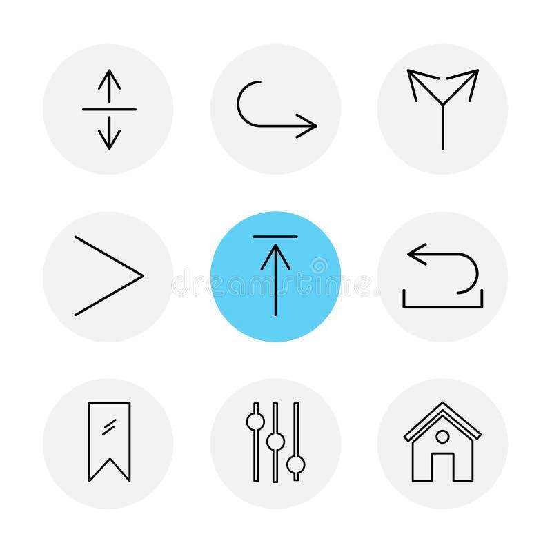 equilizer, dom, etykietka, strzała, kierunki, avatar, downloa ilustracji