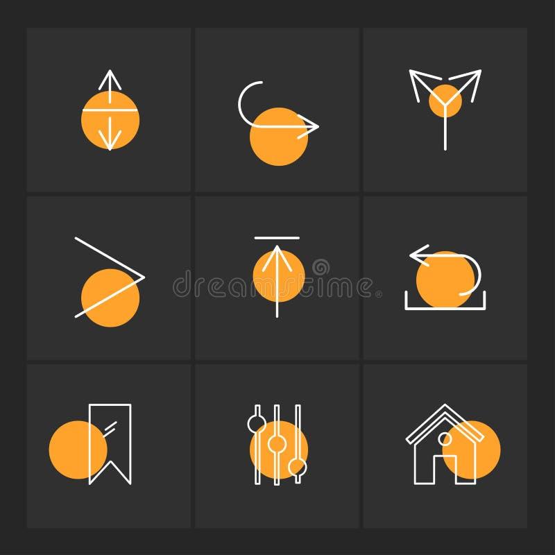 equilizer, dom, etykietka, strzała, kierunki, avatar, downloa ilustracja wektor