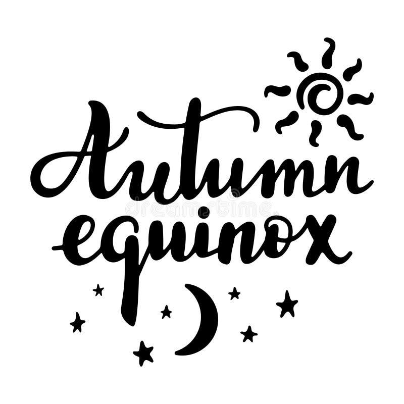 Equinócio do outono - citações escritas à mão da rotulação ilustração stock