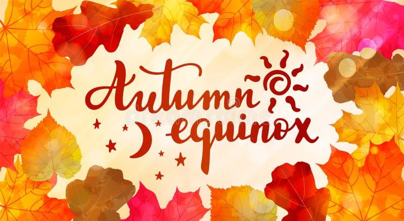Equinócio do outono - citações escritas à mão da rotulação ilustração royalty free