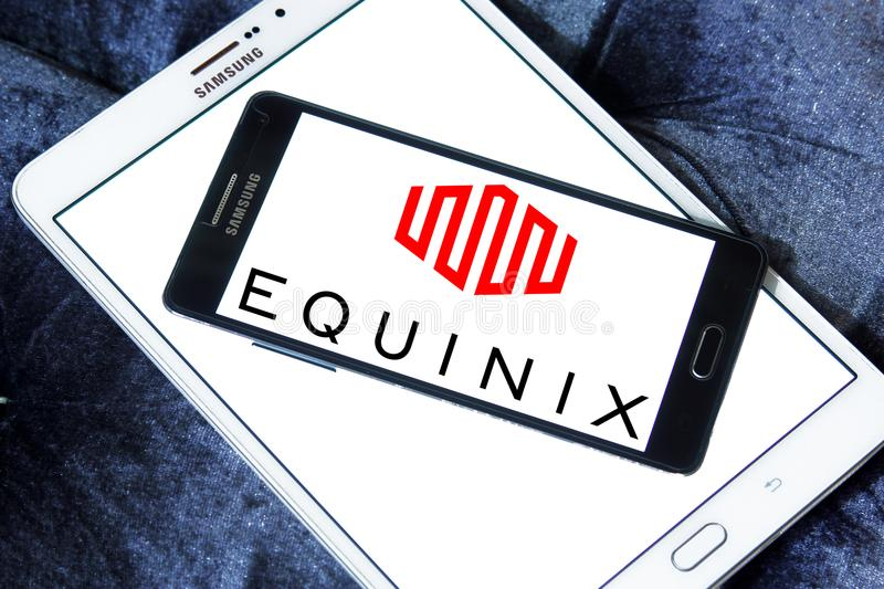 Equinix internet company logo. Logo of Equinix internet company on samsung mobile. Equinix, Inc. is an American multinational company that specializes in royalty free stock images