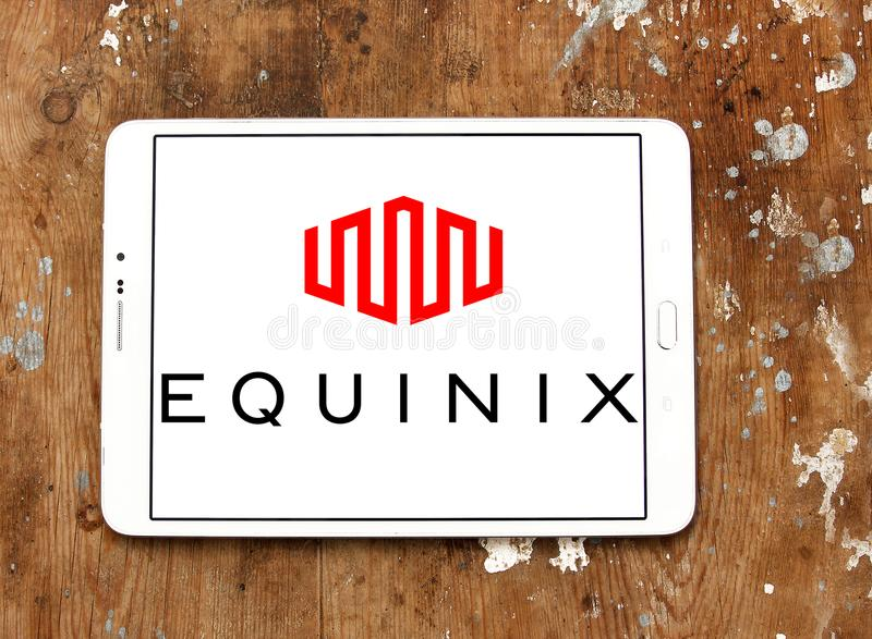 Equinix internet company logo. Logo of Equinix internet company on samsung tablet. Equinix, Inc. is an American multinational company that specializes in royalty free stock photography