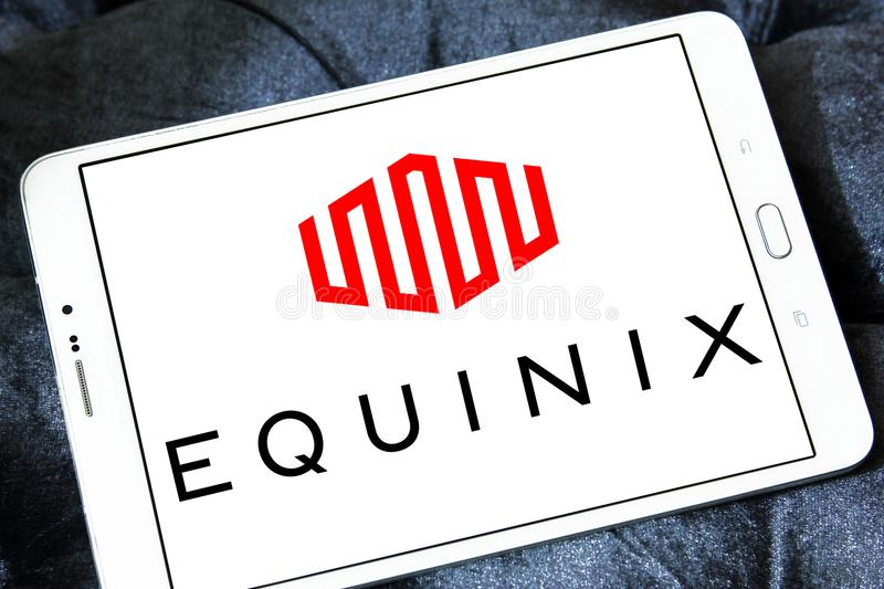 Equinix internet company logo. Logo of Equinix internet company on samsung tablet. Equinix, Inc. is an American multinational company that specializes in stock images