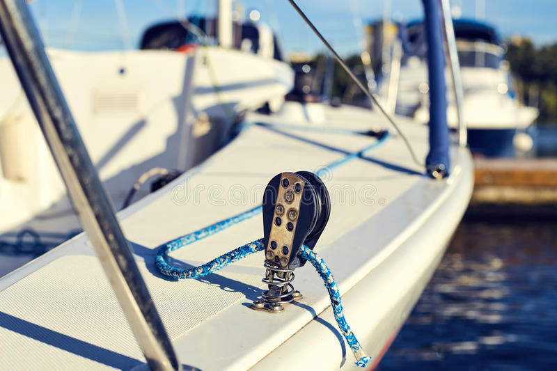 Equip yacht with braces for spinnaker stock photography