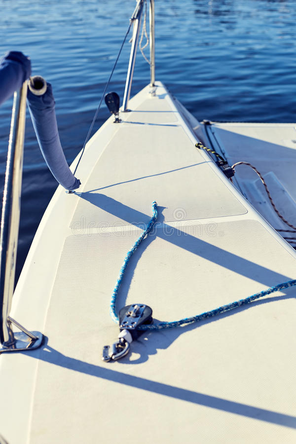 Equip yacht with braces for spinnaker stock images