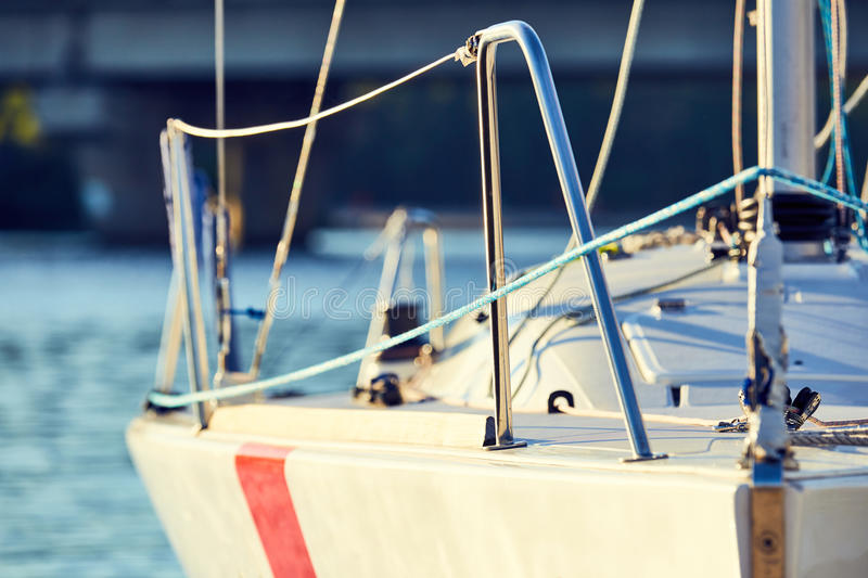 Equip yacht with braces for spinnaker royalty free stock images