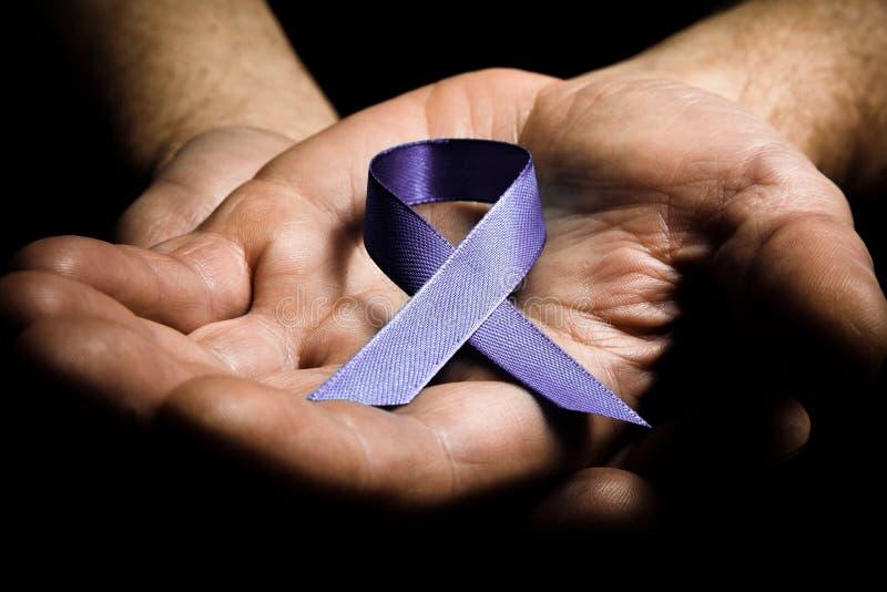 Equipa as mãos que guardam a fita roxa da conscientização da violência doméstica foto de stock royalty free