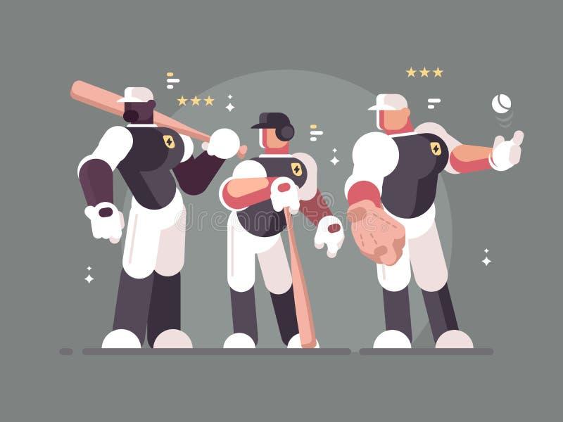 Equipa de beisebol de jogadores ilustração do vetor