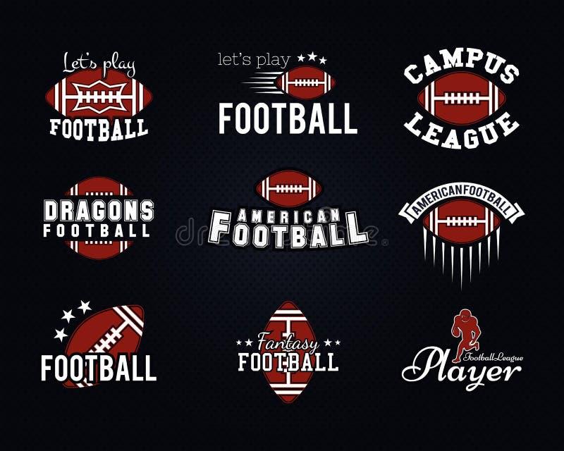 Equipa de futebol americana, crachás da faculdade, logotipos ilustração stock