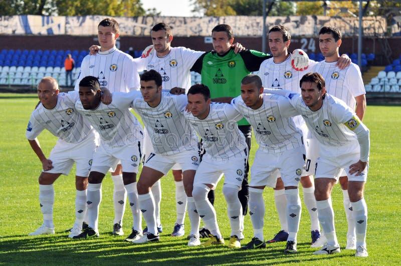 Equipa de futebol de Metallurg imagens de stock