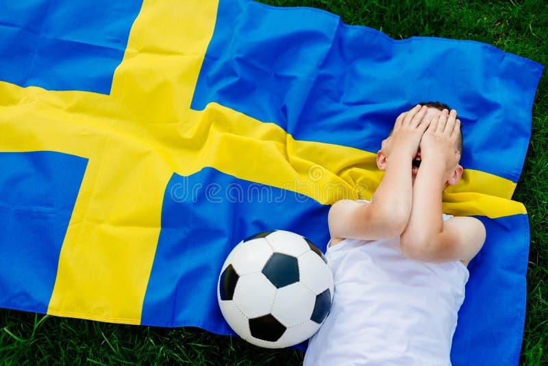 Equipa de futebol desapontado do nacional da Suécia foto de stock royalty free