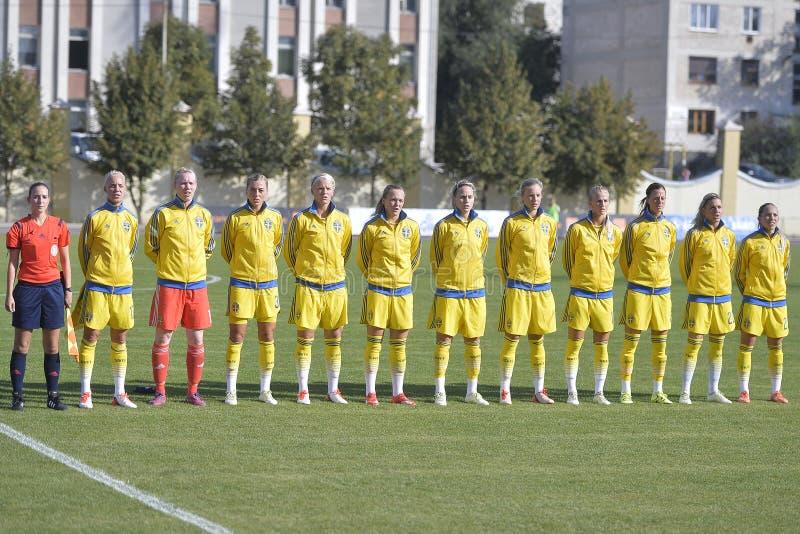 A equipa de futebol nacional das mulheres da Suécia imagens de stock royalty free