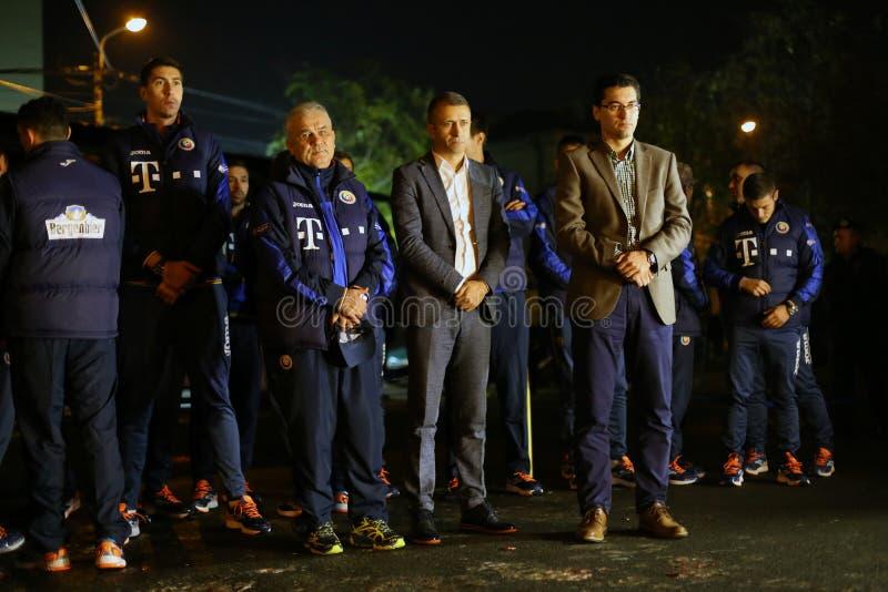 Equipa de futebol nacional de Romênia no clube de Colectiv fotografia de stock royalty free
