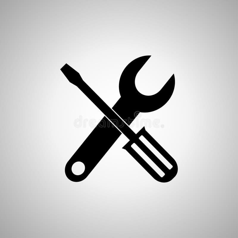 Equipa el icono, vector del icono de las herramientas, símbolo del icono de las herramientas stock de ilustración
