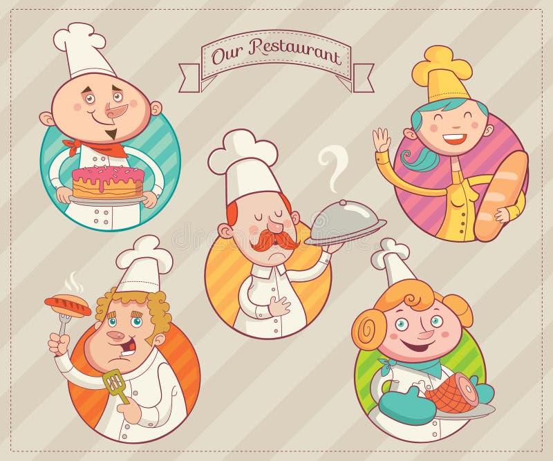 Equipa ideal do restaurante ilustração royalty free