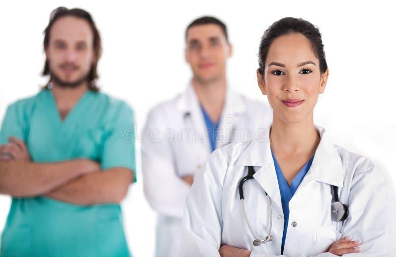 Equipa médica de doutores e de enfermeira do macho imagens de stock royalty free
