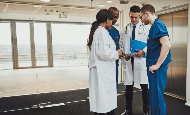 Equipa médica diversa que consulta em um paciente imagens de stock royalty free