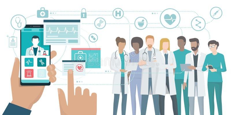 Equipa médica e cuidados médicos app ilustração stock