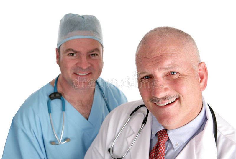 Equipa médica feliz imagens de stock royalty free