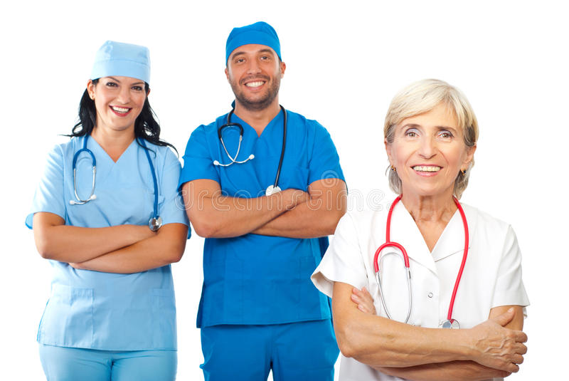 Equipa médica feliz foto de stock