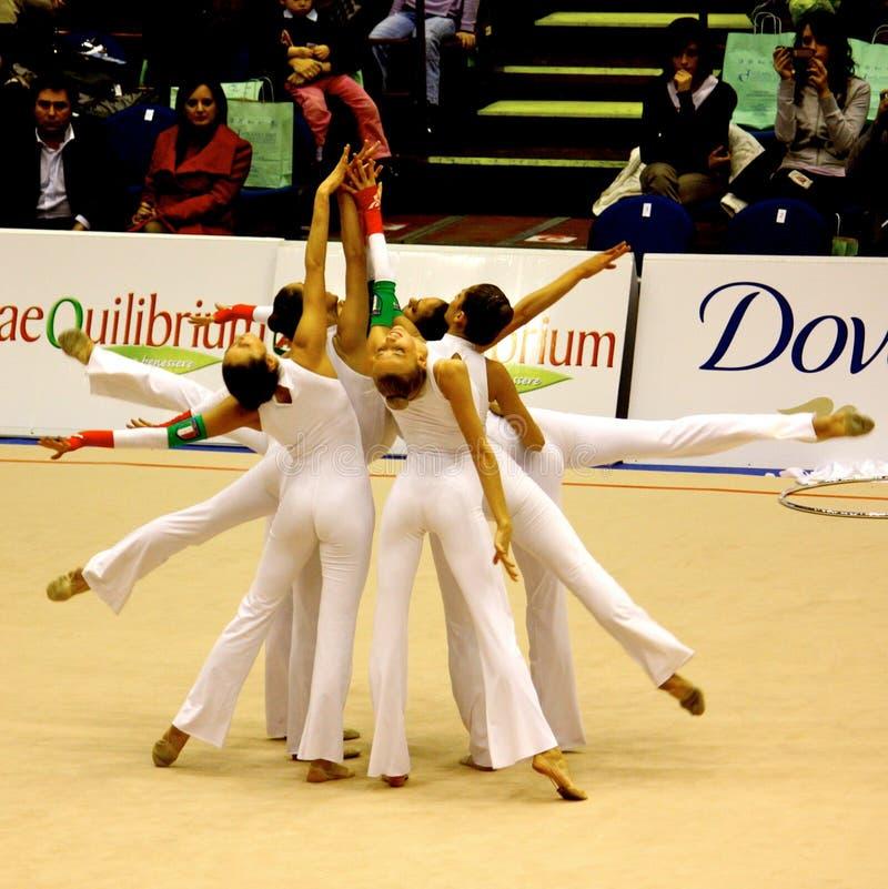 Equipa nacional italiana ginástica rítmica foto de stock