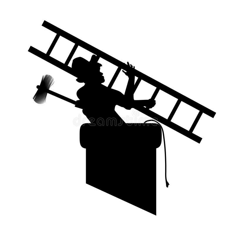 A equipa a silhueta com as ferramentas da varredura de chaminé na tubulação, grupo para trabalhar Ilustra??o do vetor para desenh ilustração royalty free