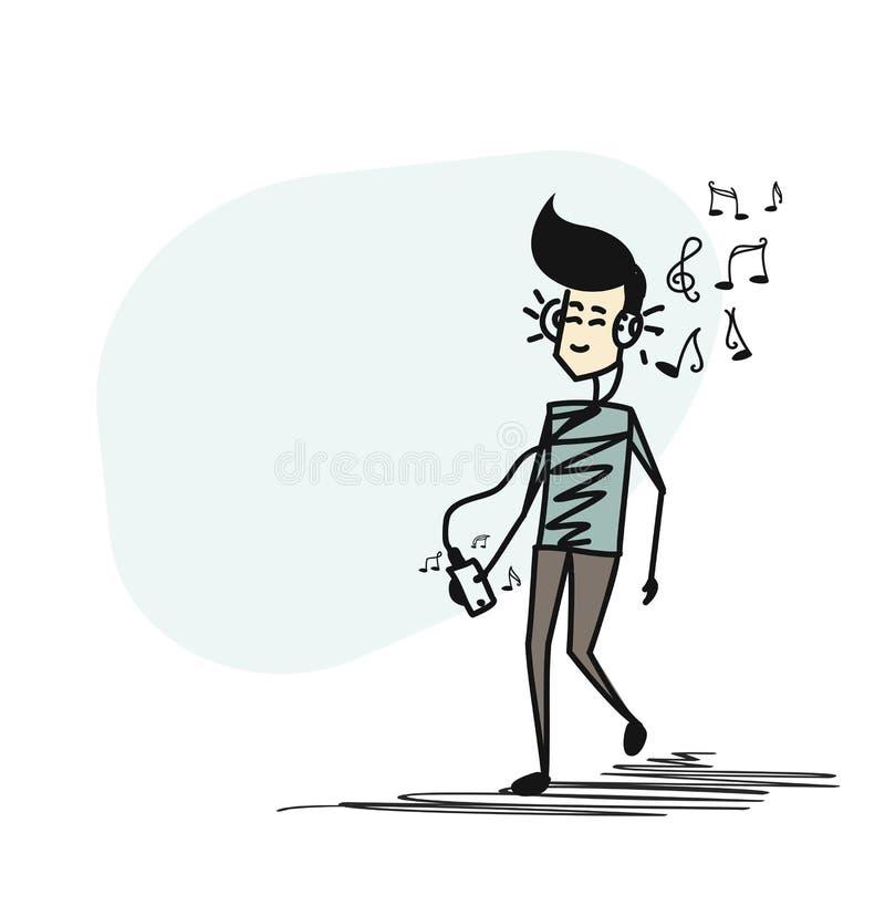 Equipaggi ascoltare la musica con le cuffie che mostrano le note alla sua illustrazione vettoriale