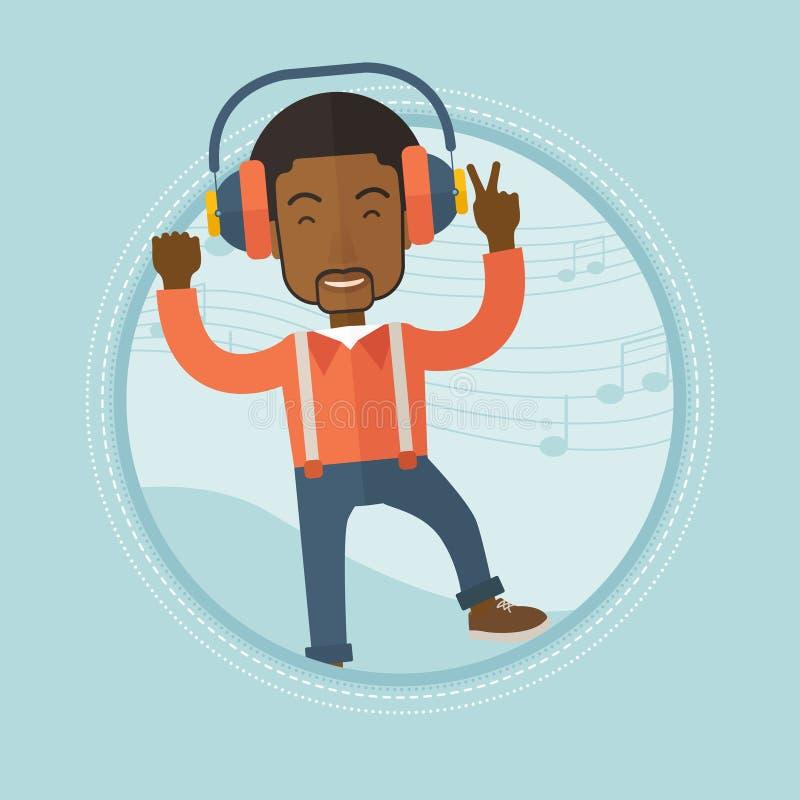 Equipaggi ascoltare la musica in cuffie e ballare royalty illustrazione gratis