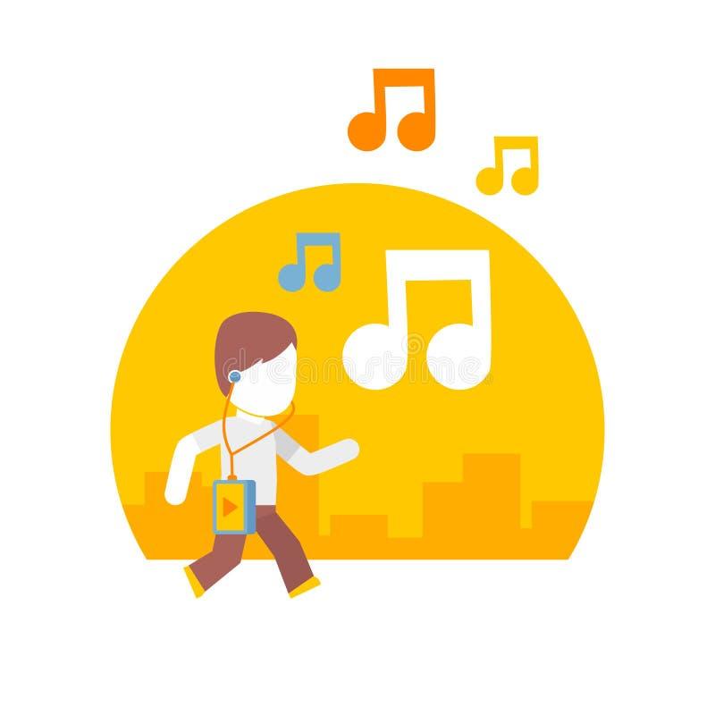 Equipaggi ascoltare la musica mentre viaggiano sulla città illustrazione di stock