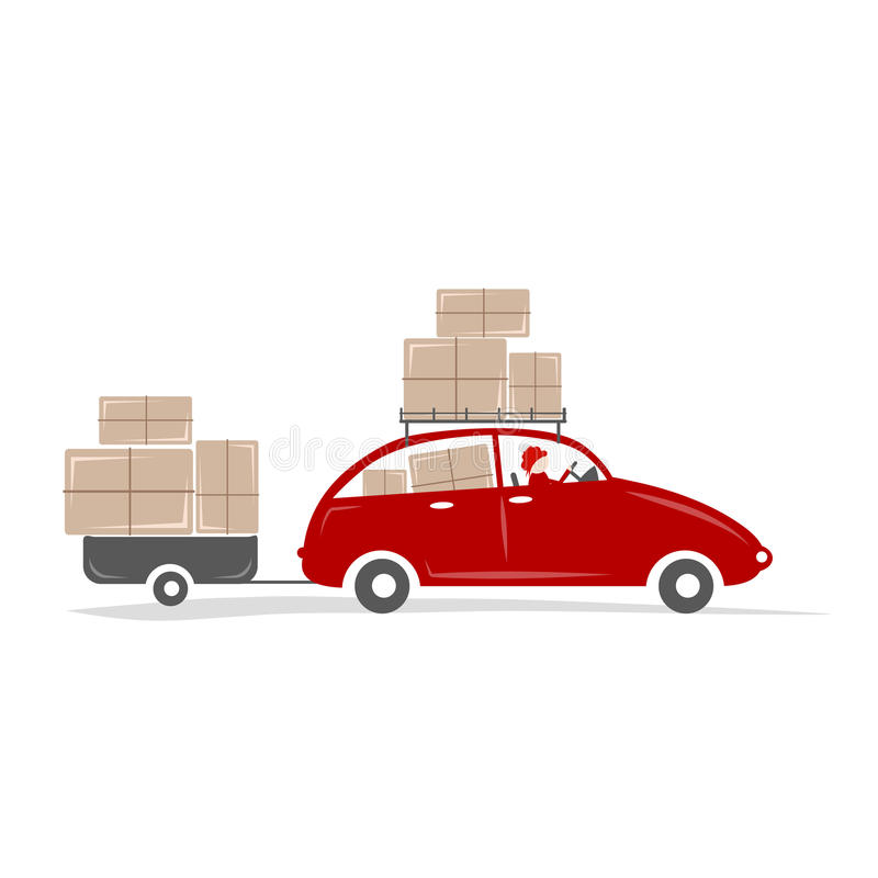 Equipaggi condurre l'automobile rossa con le scatole sullo scaffale di tetto illustrazione vettoriale