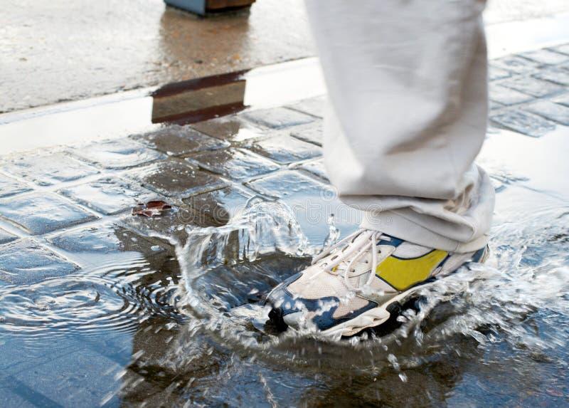 Equipaggi fare un passo in un raggruppamento di acqua immagini stock