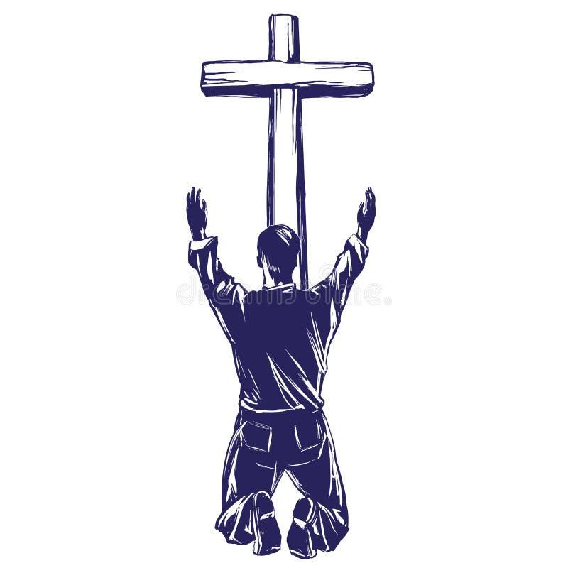 Equipaggi gli elogi Dio per il perdono dei suoi peccati, crocifitto sul simbolo trasversale del vettore disegnato a mano di Crist illustrazione di stock