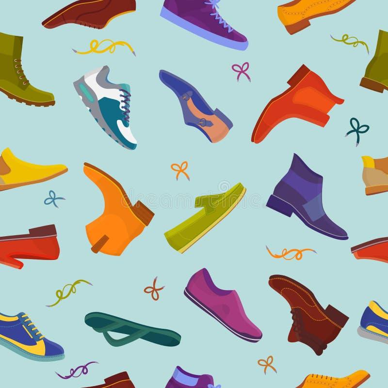 Equipaggi gli stivali maschii di vettore della scarpa e calzature di cuoio classiche o modo footgear o babbuccia per l'insieme de royalty illustrazione gratis