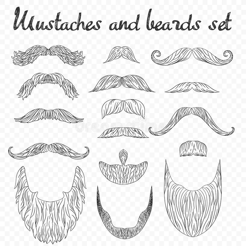 Equipaggi i capelli, i baffi, raccolta delle barbe su alfa fondo Modo su dettagliato dei pantaloni a vita bassa retro illustrazione di stock
