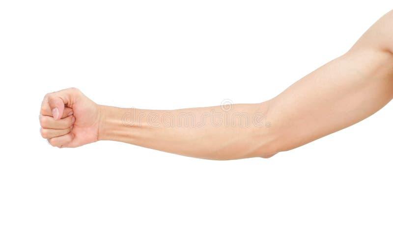 Equipaggi il braccio con le vene ematiche su fondo, sulla sanità e su me bianchi immagine stock libera da diritti