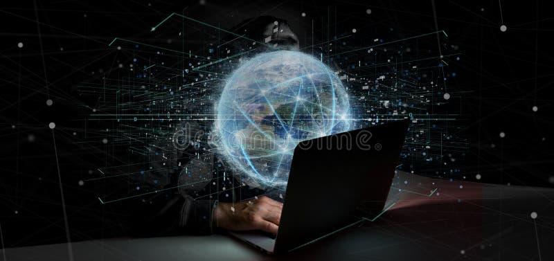 Equipaggi il collegamento della tenuta intorno ad un renderin isolato globo 3d del mondo royalty illustrazione gratis
