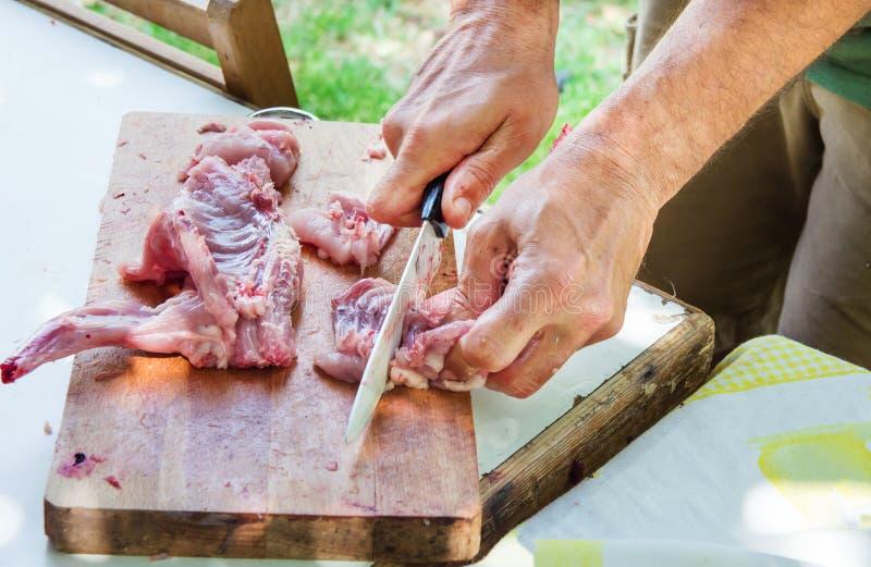 Equipaggi il coltello della tenuta della mano del ` s che taglia e che scolpisce il coniglio crudo sul tagliere di legno Preparan fotografia stock
