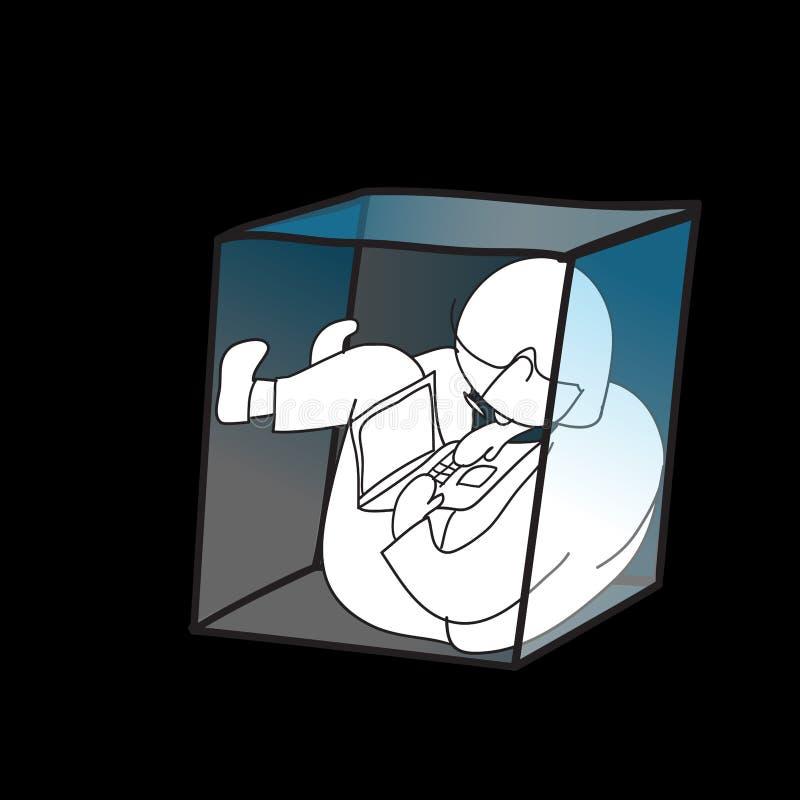 Equipaggi il lavoro utilizzando il computer portatile nella piccola scatola royalty illustrazione gratis