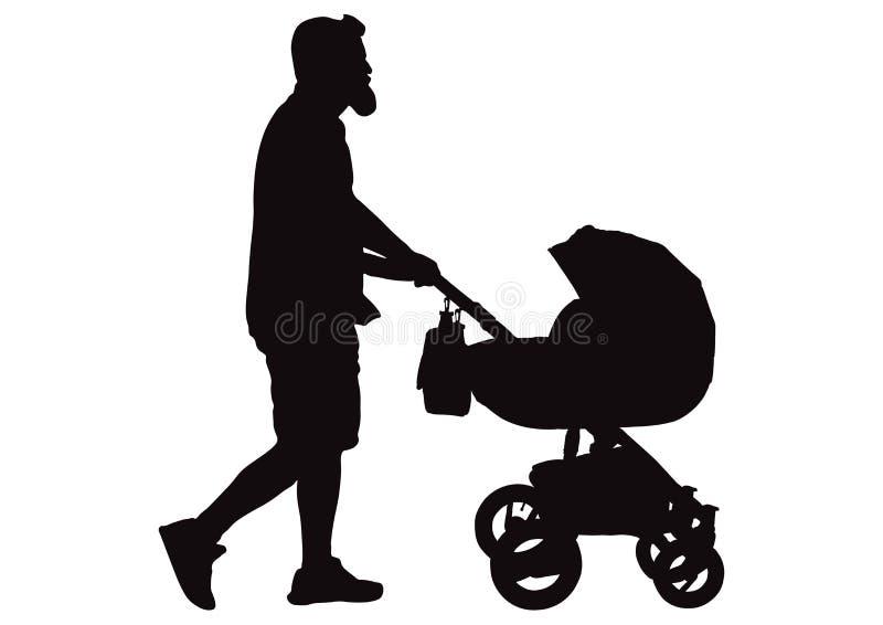 Equipaggi il padre che cammina con la siluetta della carrozzina, vettore illustrazione di stock