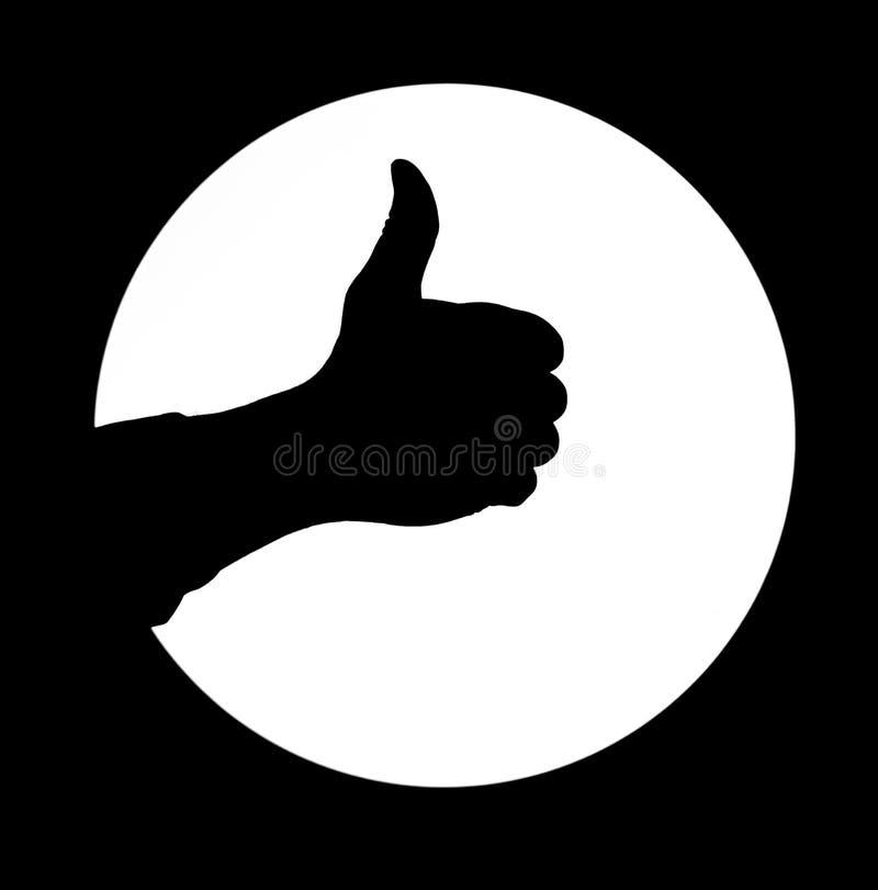 Equipaggi il pollice della siluetta della mano sul segno rotondo bianco del fondo buon fotografia stock libera da diritti