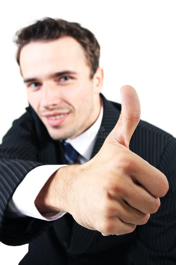 Equipaggi il ritratto, uomo d'affari che mostra a segno il allright giusto immagini stock libere da diritti