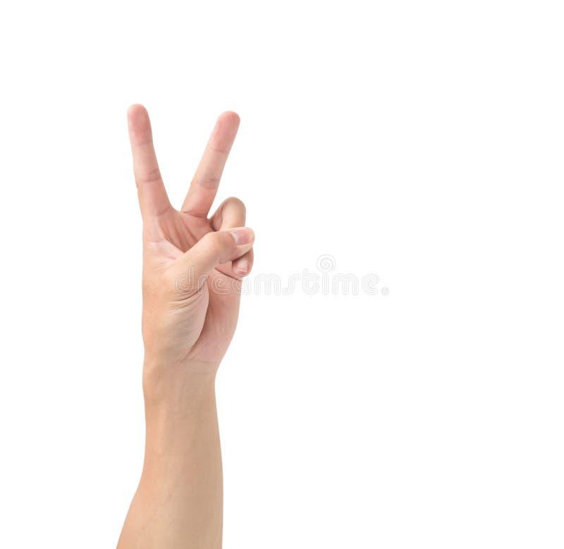 Equipaggi il simbolo del segno della mano V isolato su fondo bianco immagini stock